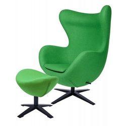 Fotel EGG SZEROKI BLACK z podnóżkiem zielony.10 - wełna, podstawa czarna