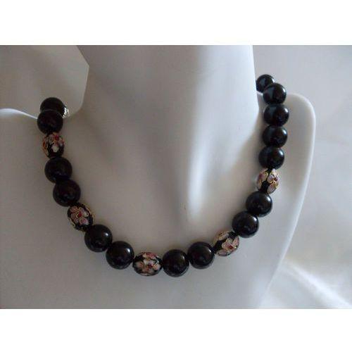 Naszyjniki i korale, N-00033 Naszyjnik z perełek szklanych, czarnych i koralików cloisonne