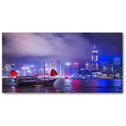 Foto obraz szkło hartowane Hong kong nocą