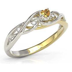 Pierścionek z białego i żółtego złota z miodowym topazem swarovski i diamentami bp-76bz marki Węc - twój jubiler