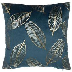 Poduszka dekoracyjna liście welur niebieska 45 x 45 cm