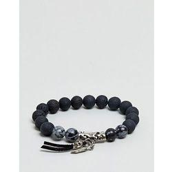 ASOS Beaded Bracelet With Skull And Semi Precious Stones - Black