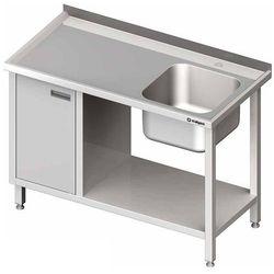 Stół ze zlewem jednokomorowym z prawej strony z szafką i półką 1400x600x850 mm | STALGAST, 980976140