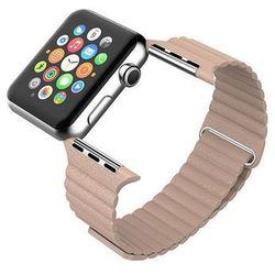 "Beżowy Skórzany Pasek ""LOOP"" - Zapięcie magnes do Apple Watch 42mm - Beżowy"