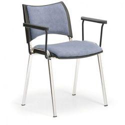 Krzesła konferencyjne SMART - chromowane nogi, z podłokietnikami, szary