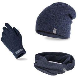 Komplet męski PaMaMi - czapka, szalik, rękawiczki - Granatowa mulina