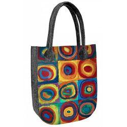 Filcowa torebka damska shopperka Kolorowe Koła - szary ||wielokolorowy