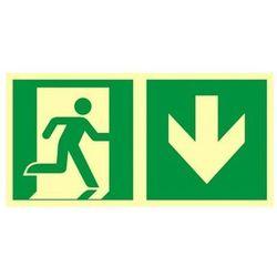 znak kierunek do wyjścia ewakuacyjnego w dół (prawostronny)