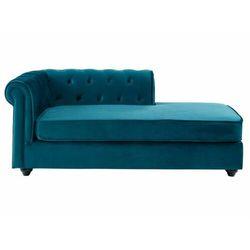 Szezlong lewostronny SHIREL w stylu chesterfield z weluru – kolor niebieski