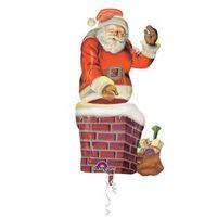 Balony, Balon foliowy Mikołaj z komina - 73x134 cm - 1 szt.