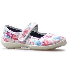 Kapcie dziecięce RenBut 33-415 Białe flamingi