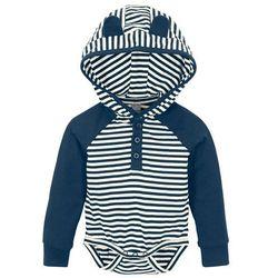 Body niemowlęce z kapturem, bawełna organiczna bonprix ciemnoniebiesko-kremowy w paski