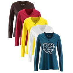 Długi shirt z dekoltem w serek (5 szt.), długi rękaw bonprix niebieskozielony z nadrukiem + ciemnobrązowy +biały + ciemnoczerwony + żółty narcyz