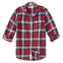 Abercrombie & Fitch Koszula 'SB19-LS GRUNGE' ciemny niebieski / czerwony / biały