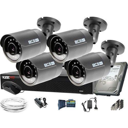 Zestawy monitoringowe, ZM12023 Zestaw do monitoringu Rejestrator LV-XVR44SE-II 4x BCS Kamera tubowa FullHD Dysk 1TB akcesoria