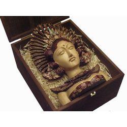 Dekoracyjny Prezent RZEŹBA Egzotyczna Maska LEGENDARNEJ BOGINI Z WYSPY BALI