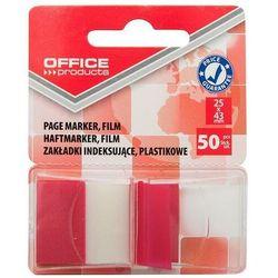 Zakładki indeksujące OFFICE PRODUCTS, PP, 25x43mm, 1x50 kart., blister, czerwone