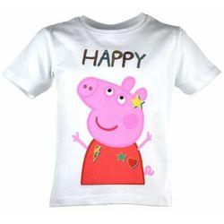 T-shirt dla dzieci Świnka Peppa Happy Biała (5901854893655)