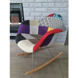 Krzesło tapicerowane - fotel bujany - big 038 patchwork kolorowy marki Zona meble