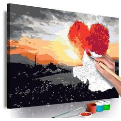 Obraz do samodzielnego malowania - drzewo w kształcie serca (wschód słońca) marki Artgeist
