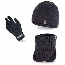 Zestaw zimowy czapka + komin + rękawiczki ciemnoszary marki Pamami