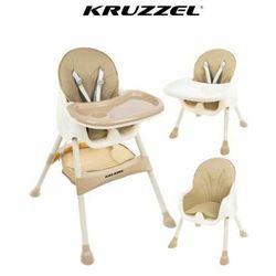 Kruzzel Krzesełko do karmienia 3w1 beżowe taca fotelik (5900779937475)